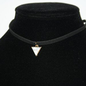 Black cord and gold hematite necklace choker